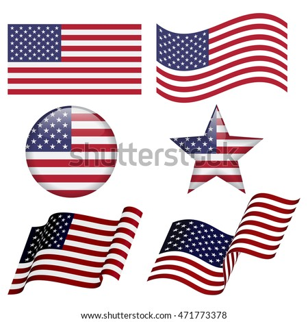 Set of USA flag concepts isolated on white background, like flat, waving, round shape, star shape. Collection of elements for logos, icons, print products, page and web decor.