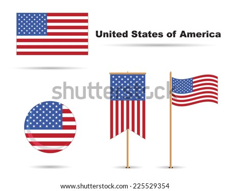 set of usa flags, stars and stripes - stock vector