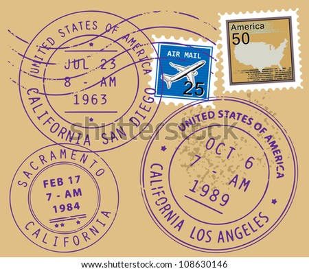 Set of USA post stamp symbols, vector illustration