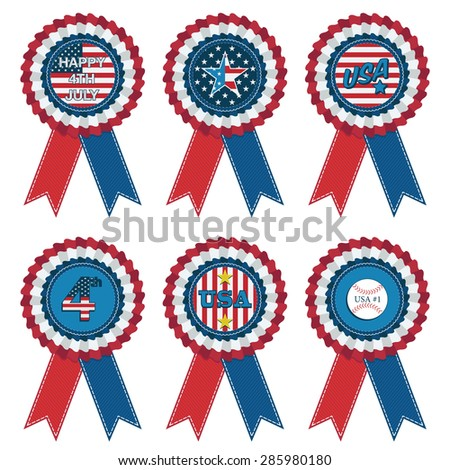 set of usa rosette decorations isolated on white - stock vector