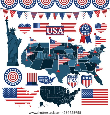 Set of USA symbols, flags, and maps with states. Vector - stock vector