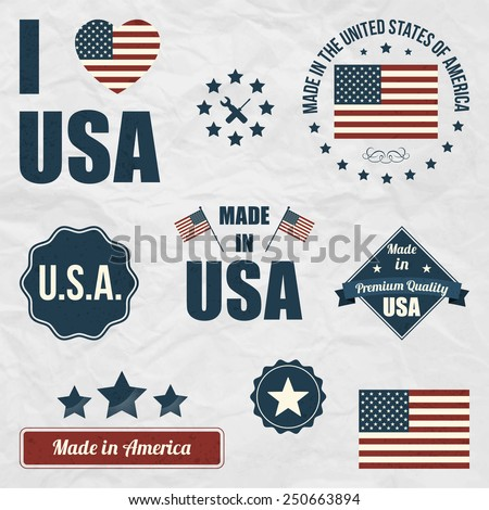 Set of USA symbols, flags, various Made in the USA Premium Quality graphics, badges. I Love USA sign. Made in America label.  - stock vector