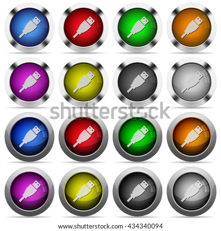 Set of USB plug glossy web buttons. Arranged layer structure. - stock vector