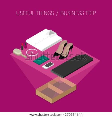 Set of useful things for business trip. Women's edition. Modern 3d flat design isometric concept. - stock vector
