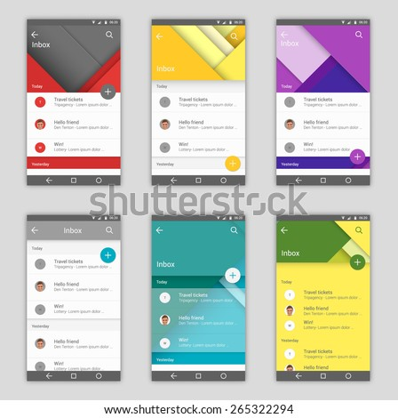 Set of user interfaces in material design style template for mail app - stock vector