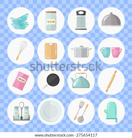 Set of utensils and cooking icons. Flat style design. Vector illustration.