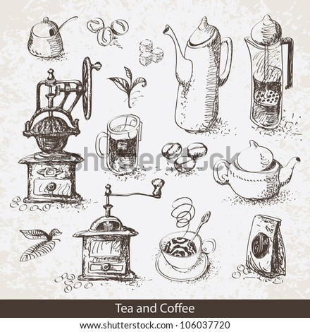 set of utensils for drinking tea and coffee - stock vector