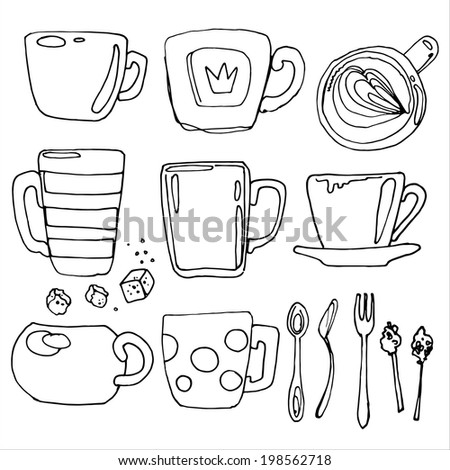 Set of utensils vector sketch black line, a coffee cup - stock vector