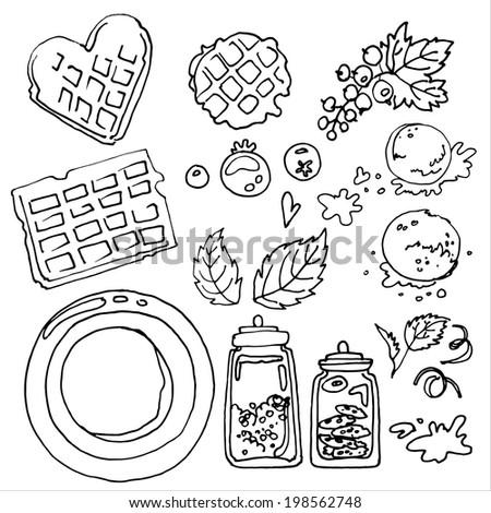 Set of utensils vector sketch black line, Belgian waffles - stock vector