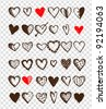 Set of valentine hearts for your design - stock photo