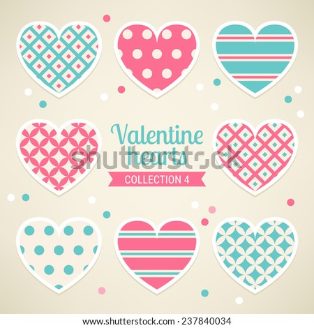 Set of Valentine Hearts with Diamond, Polka Dot, Stripes and Diagonal Lines in Pink, Turquoise and Beige. Perfect for gift paper, textile, Valentine, birthday and wedding cards. Vector illustration. - stock vector