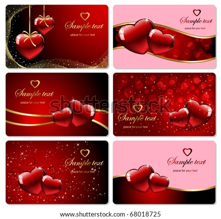 Set of Valentine's cards, illustration - stock vector
