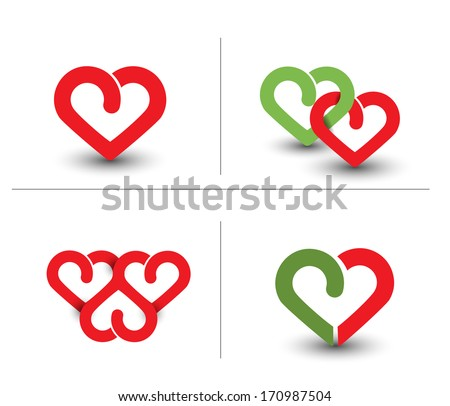 Set Of Valentine's Day Background, Vector Illustration. - stock vector