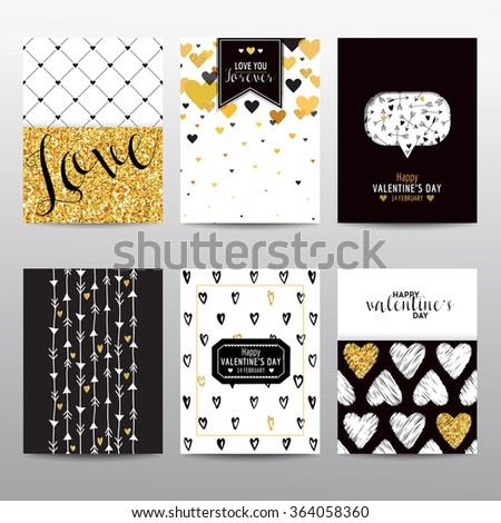 Set of Valentine's Day Brochures and Cards - vintage layouts - in vector - stock vector
