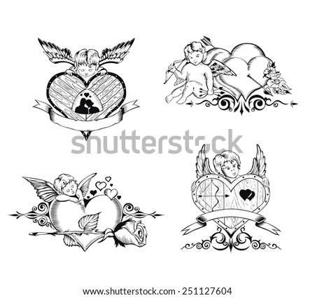 Set of Valentine's Day card. Images of Cupid, hearts and flowers. - stock vector