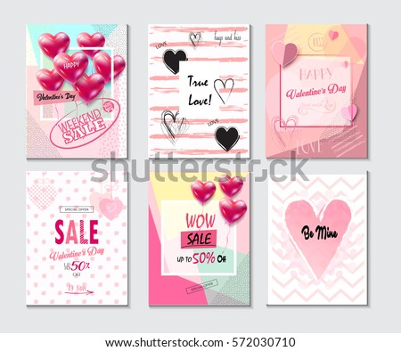 Set of Valentine's day card, sale and other banners templates with lettering, hearts and balloons. Typography poster, card, label, brochure, banner design collection. Love, Romance Vector illustration