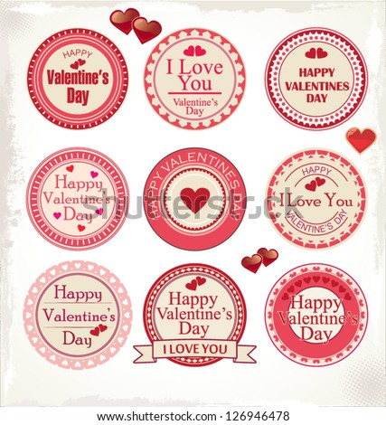 Set of valentine's day love labels - stock vector