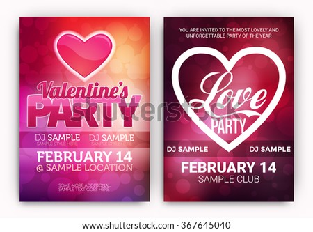 Set Of Valentine's Day Party Poster Designs - Collection of Club Party Designs for the Celebration of Love - stock vector