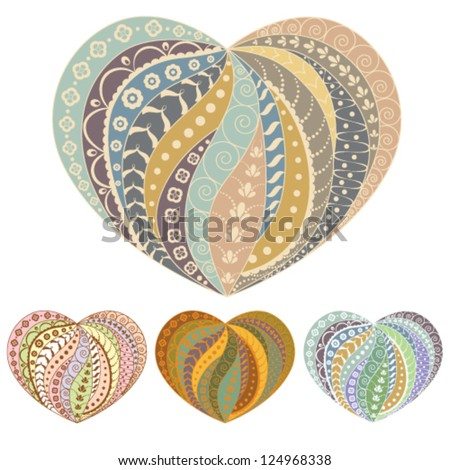 Set of 4 valentine's festive multicolored isolated hearts - stock vector