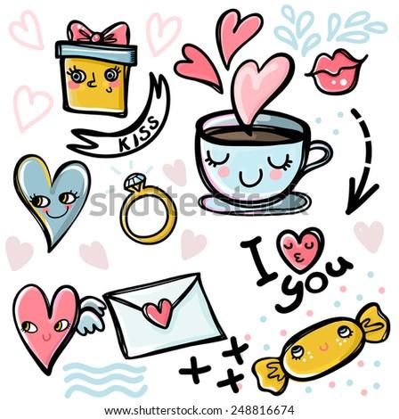Set of Valentine's icons - stock vector