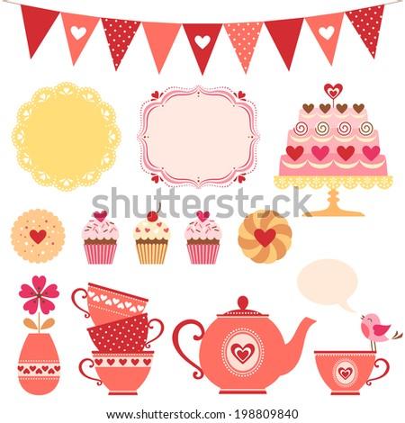 Set of Valentine tea party design elements. - stock vector