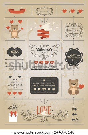Set of Valentine vector elements, vintage banner, ribbon, labels, frames, badge, stickers. Vector ornaments and decorative element - stock vector