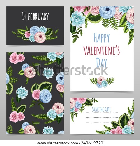 Set of valentines cards with painted flowers, plants, leaves. Vector illustration - stock vector