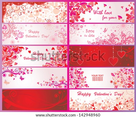 Set of valentines day banners - stock vector