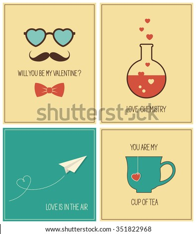 Set of Valentines Day greeting cards and concepts