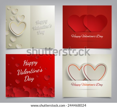 Set of Valentines Day greeting cards. Vector illustration eps 10 - stock vector