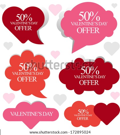 set of valentines speech bubbles for sale and advertisement