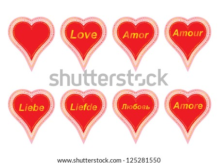set of valentines with word love in several languages - stock vector