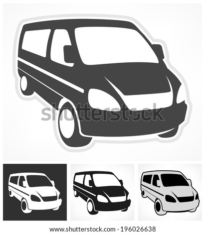 Set of vans on white, design element, vector illustration - stock vector