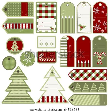 Set of variable Christmas tags, vector - stock vector