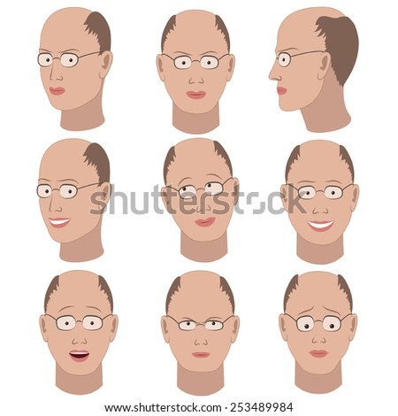 Set of variation of emotions of the same bald guy with glasses. He is remembering, thinking, sad, dreaming, angry, surprised, outraged, smiling. - stock vector