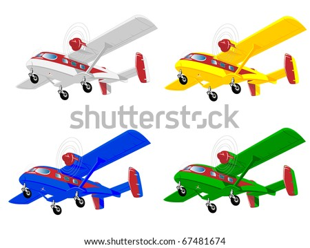 set of varicolored aircraft - stock vector