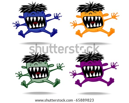 set of varicolored funny monsters.vector 11 - stock vector