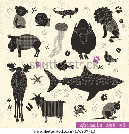 Set of various animals