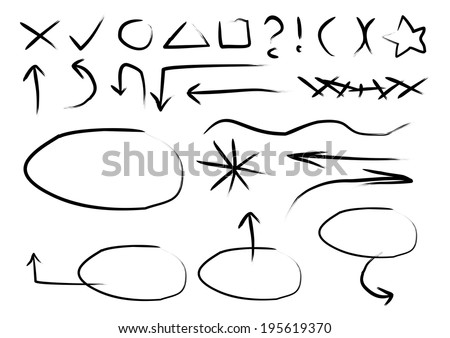 Set of various arrows and design elements on a white background. One color. vector  - stock vector