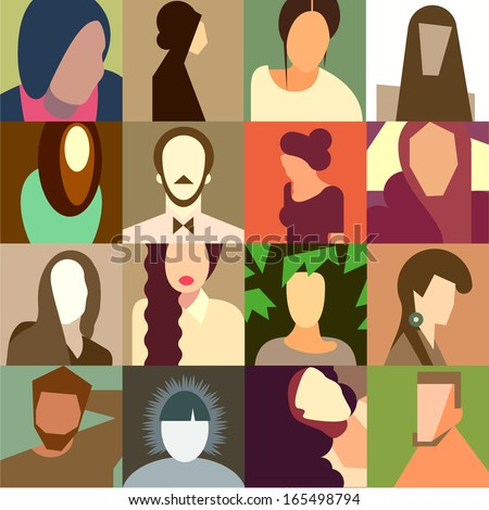 Set of various avatar faces, flat design, vector illustration.  - stock vector