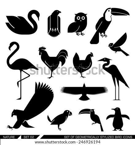Set of various bird icons: swan, owl, eagle, rooster, flamingo, penguin, pelican, hen. Vector illustration. - stock vector