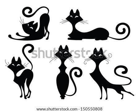 set of various black cat silhouettes sitting cat lying cat two stretching cats - Black Cat Silhouette Halloween
