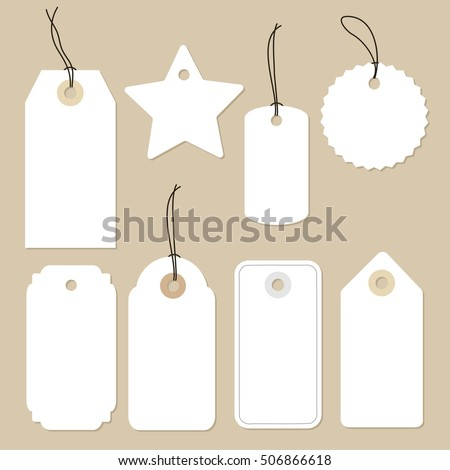 Set of various blank white paper tags, labels, stickers. Isolated vector elements, flat design.