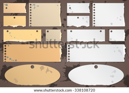 Set of various brown, gray torn note papers with splashes - stock vector