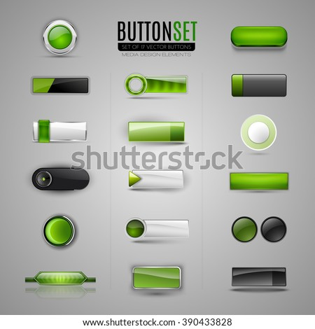 Set of various buttons. Vector design elements. Green and black layout.