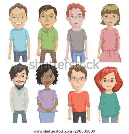 Set of various cartoon faces, people avatar, illustration  - stock vector