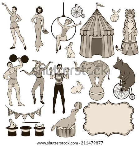 Set of various circus elements: people, animals and decoration