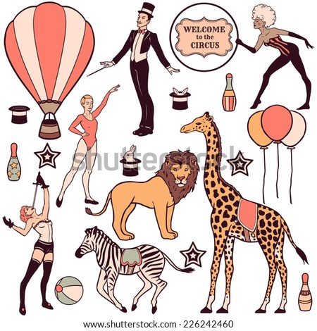 Set of various circus elements, people, animals and decorations - stock vector