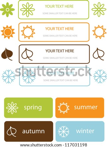 set of various colorful labels and stickers with four seasons symbols - stock vector