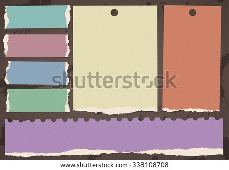 Set of various colorful recycled torn grainy note papers - stock vector